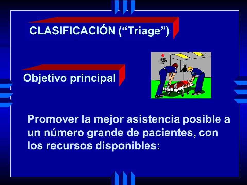 Promover la mejor asistencia posible a un número grande de pacientes, con los recursos disponibles: CLASIFICACIÓN (Triage) Objetivo principal
