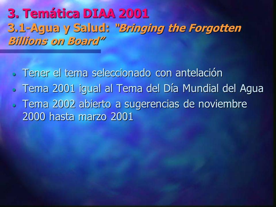 3. Temática DIAA 2001 3.1-Agua y Salud: Bringing the Forgotten Billions on Board Tener el tema seleccionado con antelación Tener el tema seleccionado