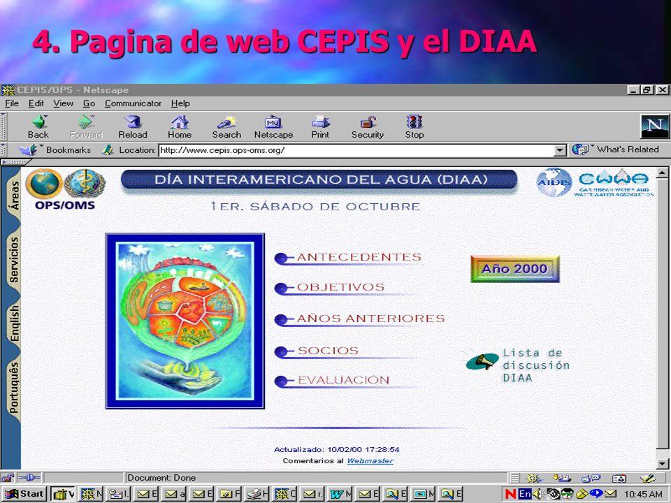 4. Pagina de web CEPIS y el DIAA 4. Pagina de web CEPIS y el DIAA