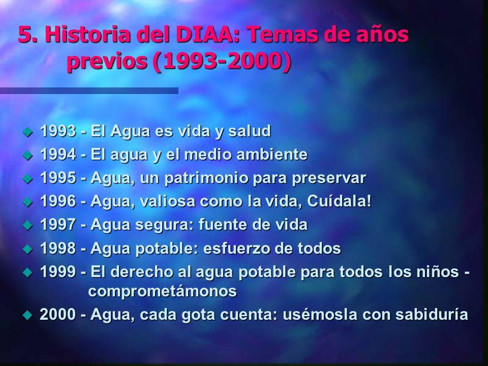 5. Historia del DIAA: Temas de años previos (1993-2000) u 1993 - El Agua es vida y salud u 1994 - El agua y el medio ambiente u 1995 - Agua, un patrim