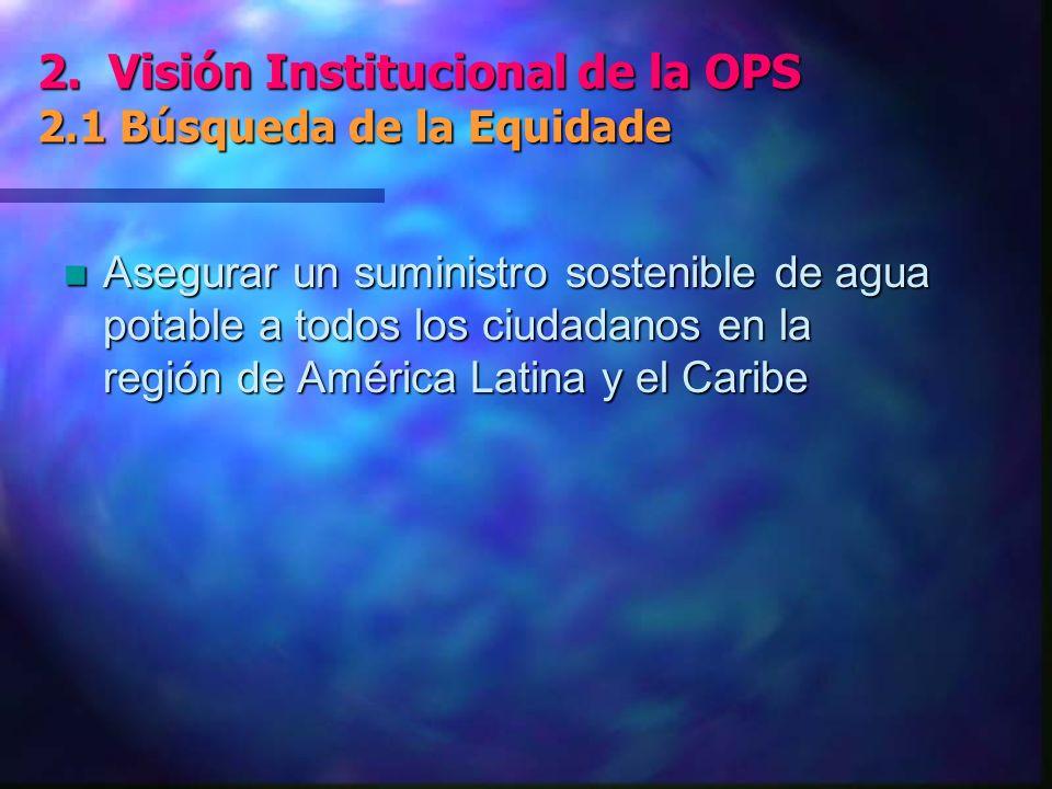2.Visión Institucional de la OPS 2.2 Agua y Buena Salud 2.