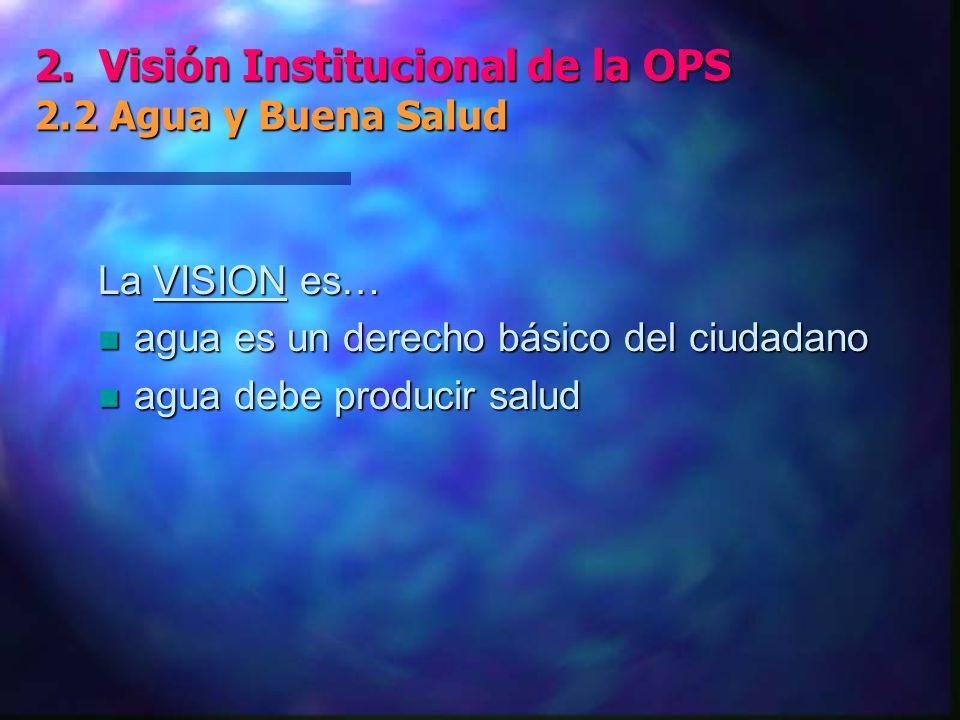 2. Visión Institucional de la OPS 2.2 Agua y Buena Salud 2.