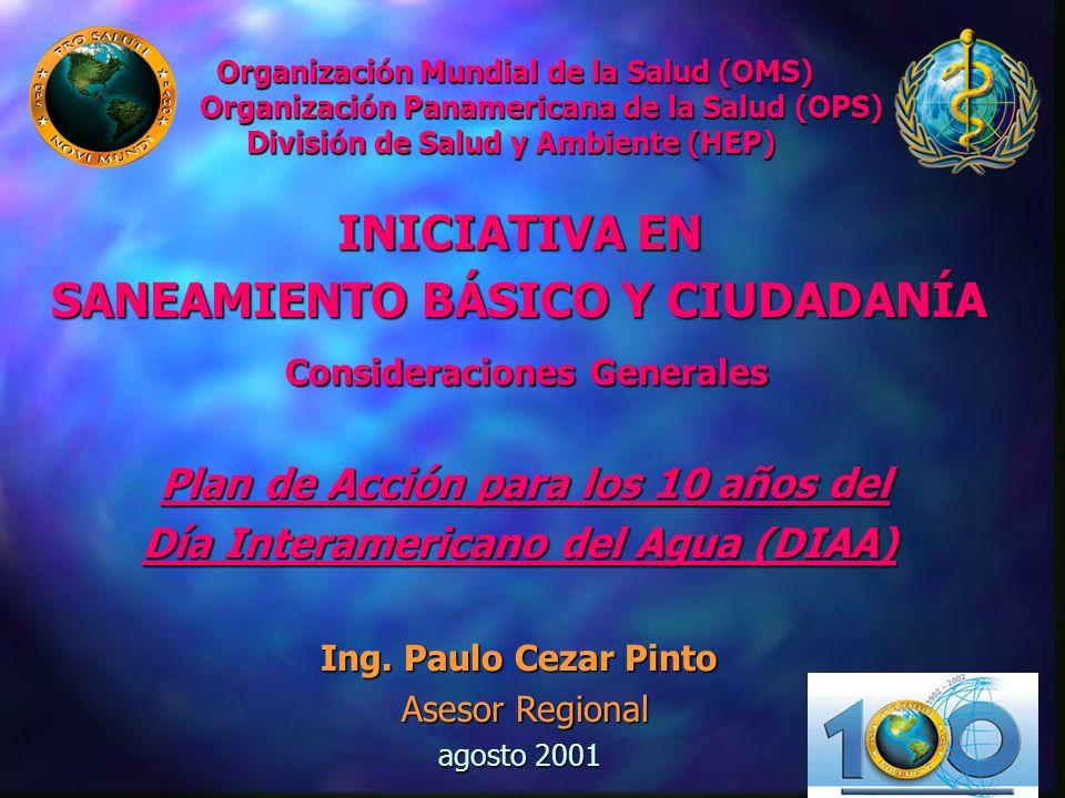 INICIATIVA EN SANEAMIENTO BÁSICO Y CIUDADANÍA Consideraciones Generales Plan de Acción para los 10 años del Día Interamericano del Agua (DIAA) Ing. Pa
