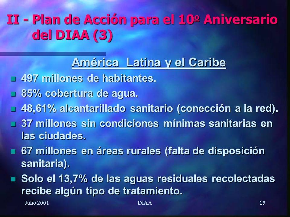 Julio 2001DIAA15 América Latina y el Caribe n 497 millones de habitantes. n 85% cobertura de agua. n 48,61% alcantarillado sanitario (conección a la r