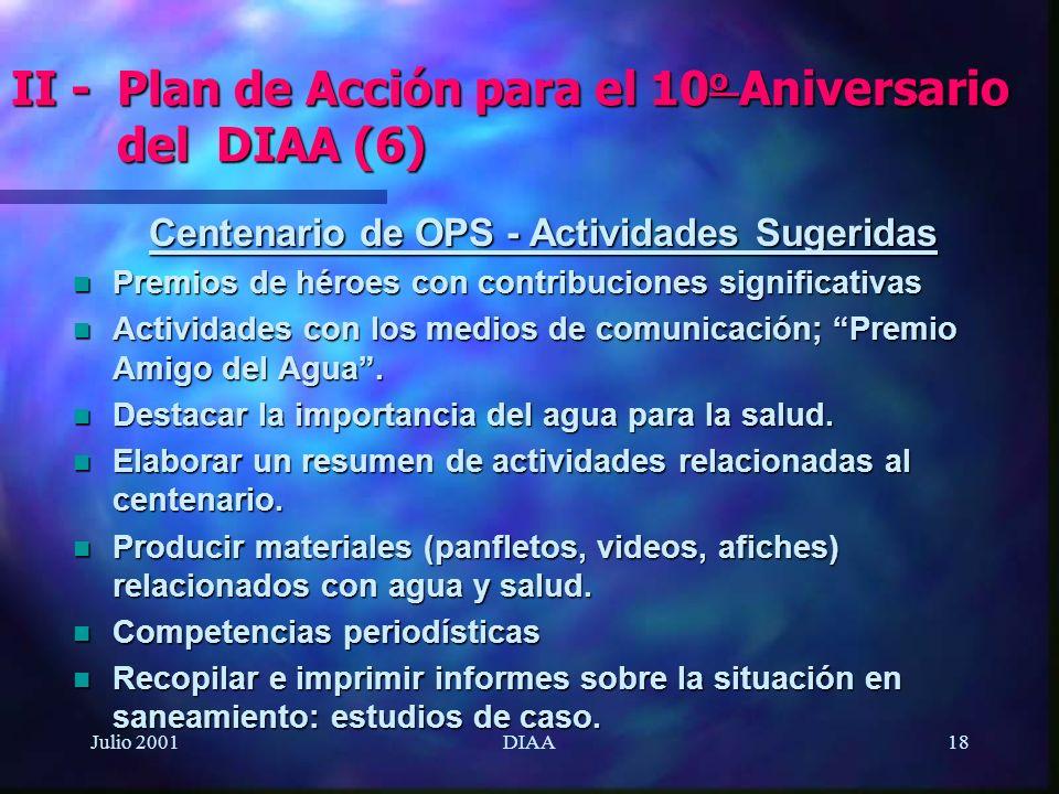 Julio 2001DIAA18 Centenario de OPS - Actividades Sugeridas n Premios de héroes con contribuciones significativas n Actividades con los medios de comun