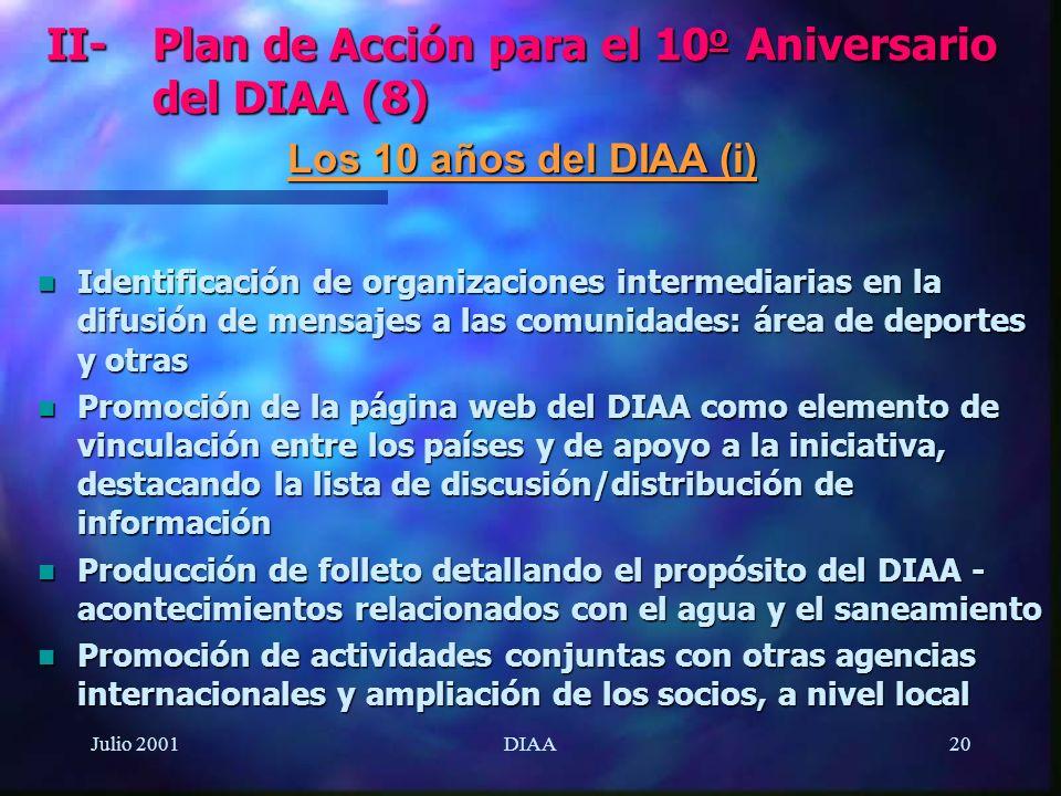Julio 2001DIAA20 n Identificación de organizaciones intermediarias en la difusión de mensajes a las comunidades: área de deportes y otras n Promoción