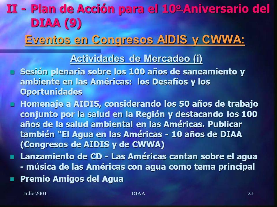 Julio 2001DIAA21 Actividades de Mercadeo (i) n Sesión plenaria sobre los 100 años de saneamiento y ambiente en las Américas: los Desafíos y los Oportu