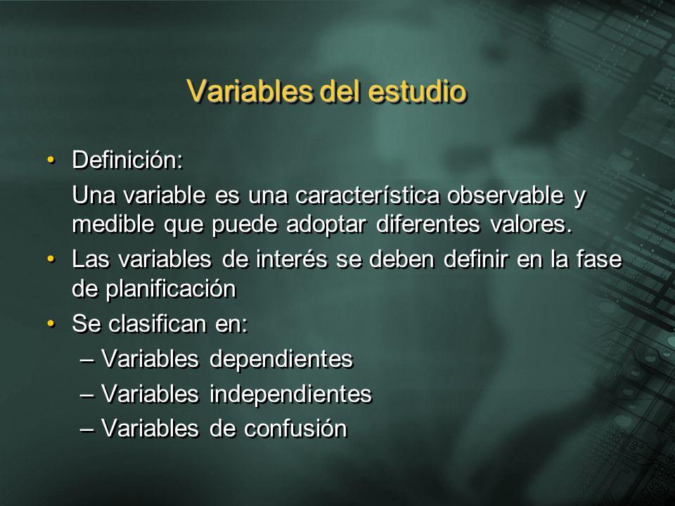 Definición: Una variable es una característica observable y medible que puede adoptar diferentes valores. Las variables de interés se deben definir en