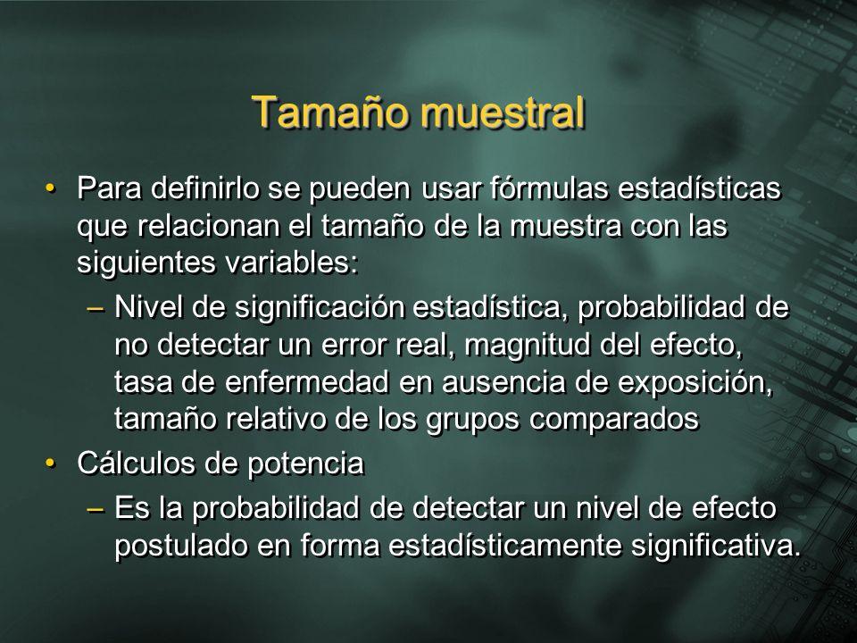 Para definirlo se pueden usar fórmulas estadísticas que relacionan el tamaño de la muestra con las siguientes variables: –Nivel de significación estad