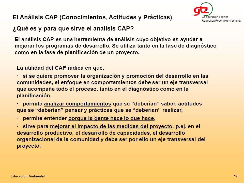 Cooperación Técnica República Federal de Alemania 17Educación Ambiental La utilidad del CAP radica en que, · si se quiere promover la organización y p