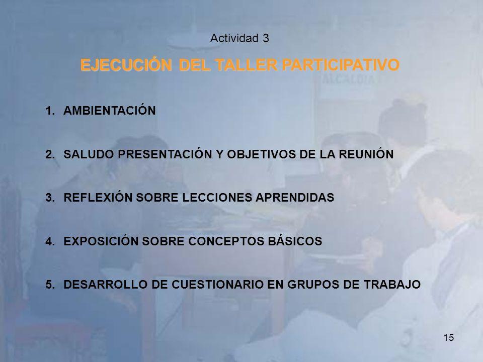 15 Actividad 3 EJECUCIÓN DEL TALLER PARTICIPATIVO 1.AMBIENTACIÓN 2.SALUDO PRESENTACIÓN Y OBJETIVOS DE LA REUNIÓN 3.REFLEXIÓN SOBRE LECCIONES APRENDIDA