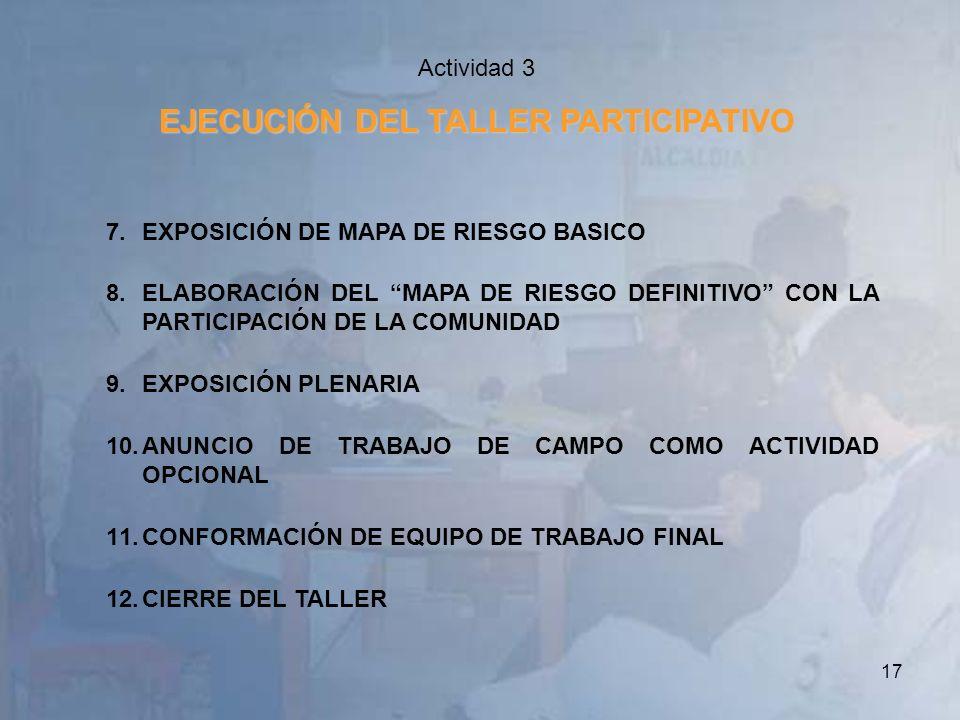 17 Actividad 3 EJECUCIÓN DEL TALLER PARTICIPATIVO 7.EXPOSICIÓN DE MAPA DE RIESGO BASICO 8.ELABORACIÓN DEL MAPA DE RIESGO DEFINITIVO CON LA PARTICIPACI
