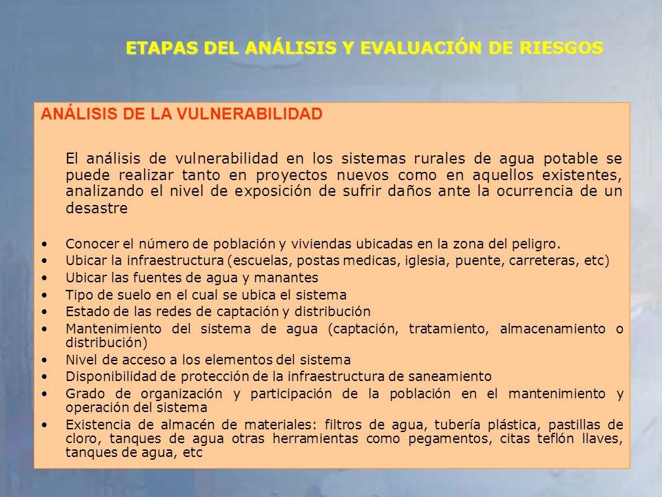 5 ETAPAS DEL ANÁLISIS Y EVALUACIÓN DE RIESGOS ANÁLISIS DE LA VULNERABILIDAD El análisis de vulnerabilidad en los sistemas rurales de agua potable se p
