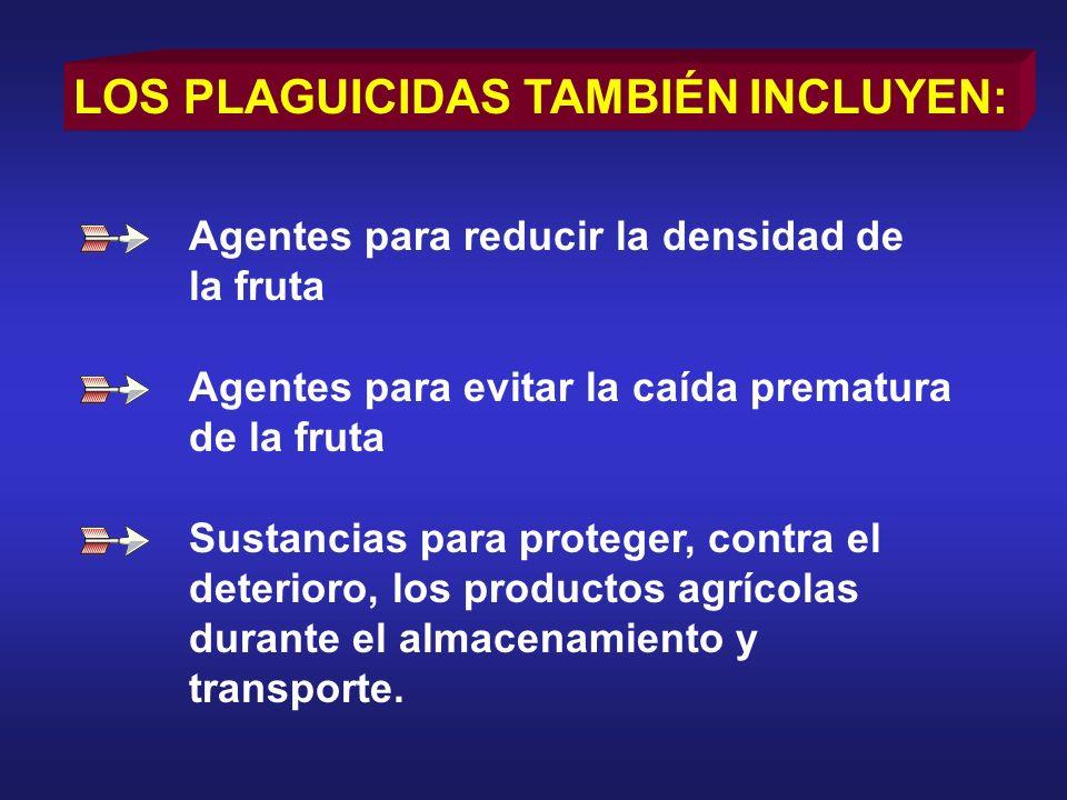LOS PLAGUICIDAS TAMBIÉN INCLUYEN: Agentes para reducir la densidad de la fruta Agentes para evitar la caída prematura de la fruta Sustancias para prot