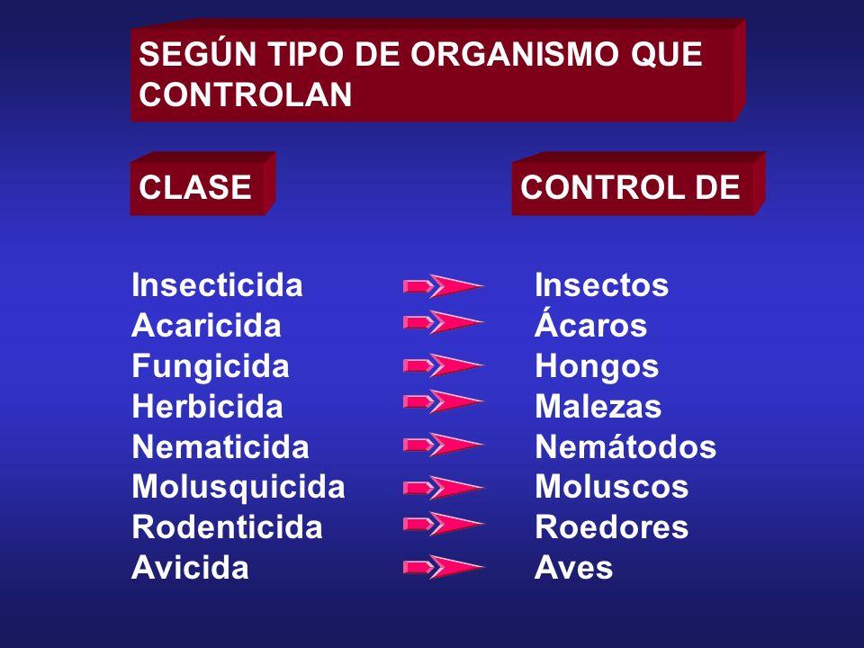 CLASECONTROL DE Insecticida Acaricida Fungicida Herbicida Nematicida Molusquicida Rodenticida Avicida Insectos Ácaros Hongos Malezas Nemátodos Molusco