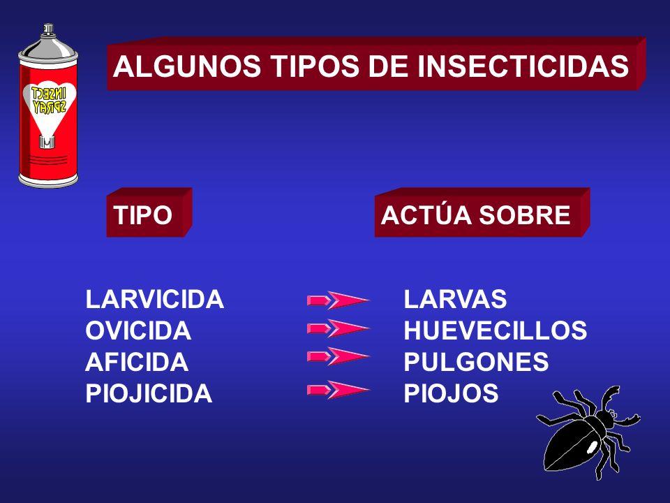ALGUNOS TIPOS DE INSECTICIDAS TIPOACTÚA SOBRE LARVICIDA OVICIDA AFICIDA PIOJICIDA LARVAS HUEVECILLOS PULGONES PIOJOS