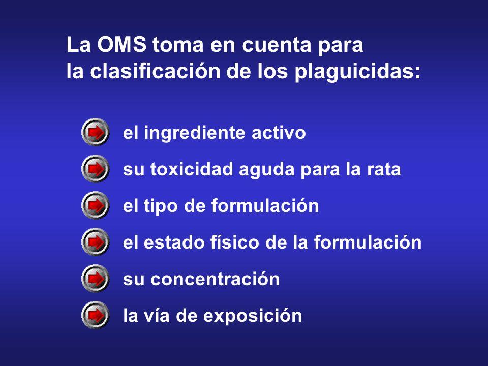 el ingrediente activo su toxicidad aguda para la rata el tipo de formulación el estado físico de la formulación su concentración la vía de exposición