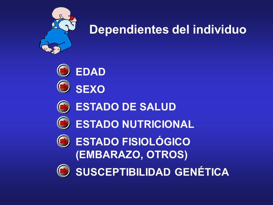 EDAD SEXO ESTADO DE SALUD ESTADO NUTRICIONAL ESTADO FISIOLÓGICO (EMBARAZO, OTROS) SUSCEPTIBILIDAD GENÉTICA Dependientes del individuo
