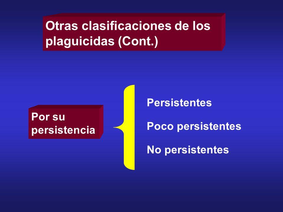 Otras clasificaciones de los plaguicidas (Cont.) Por su persistencia Persistentes Poco persistentes No persistentes