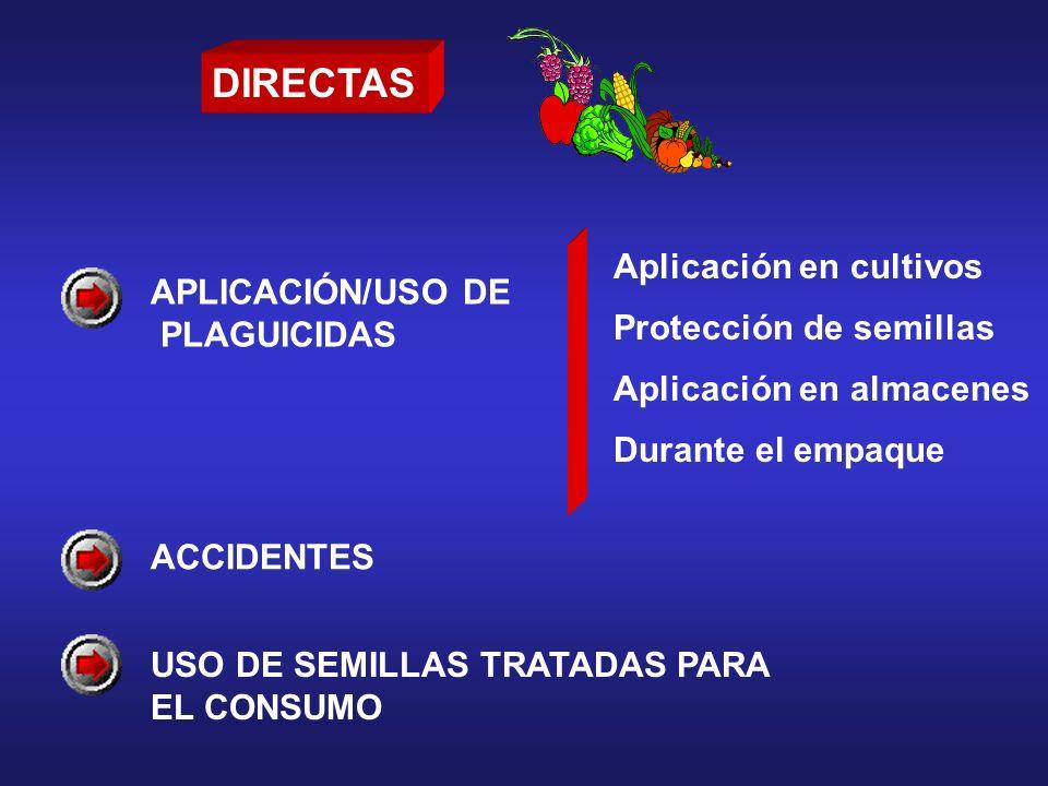 APLICACIÓN/USO DE PLAGUICIDAS Aplicación en cultivos Protección de semillas Aplicación en almacenes Durante el empaque ACCIDENTES USO DE SEMILLAS TRAT