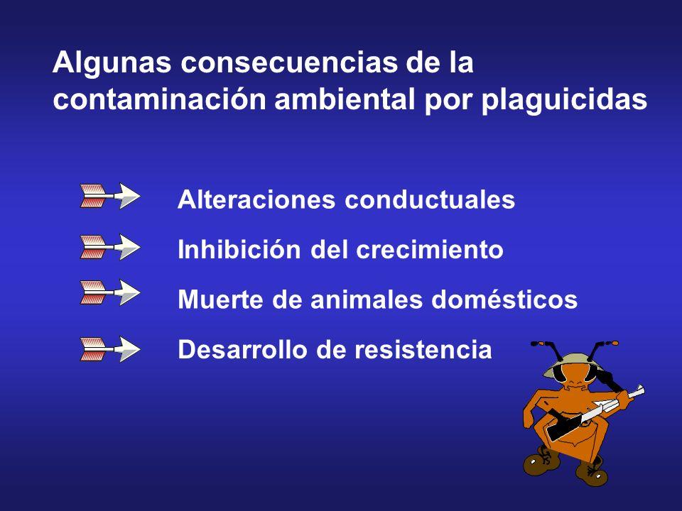 Alteraciones conductuales Inhibición del crecimiento Muerte de animales domésticos Desarrollo de resistencia Algunas consecuencias de la contaminación