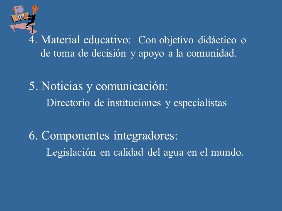 4. Material educativo: Con objetivo didáctico o de toma de decisión y apoyo a la comunidad.