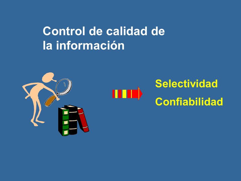 Control de calidad de la información Selectividad Confiabilidad