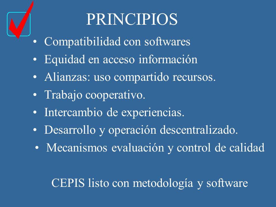 PRINCIPIOS Compatibilidad con softwares Equidad en acceso información Alianzas: uso compartido recursos.