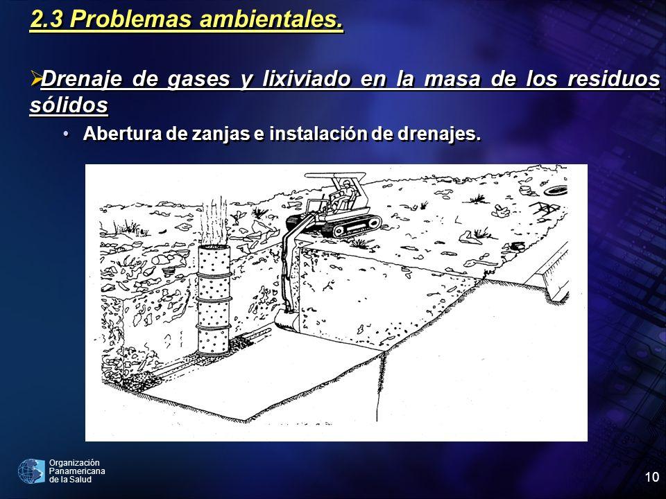Organización Panamericana de la Salud 10 2.3 Problemas ambientales. Drenaje de gases y lixiviado en la masa de los residuos sólidos Abertura de zanjas