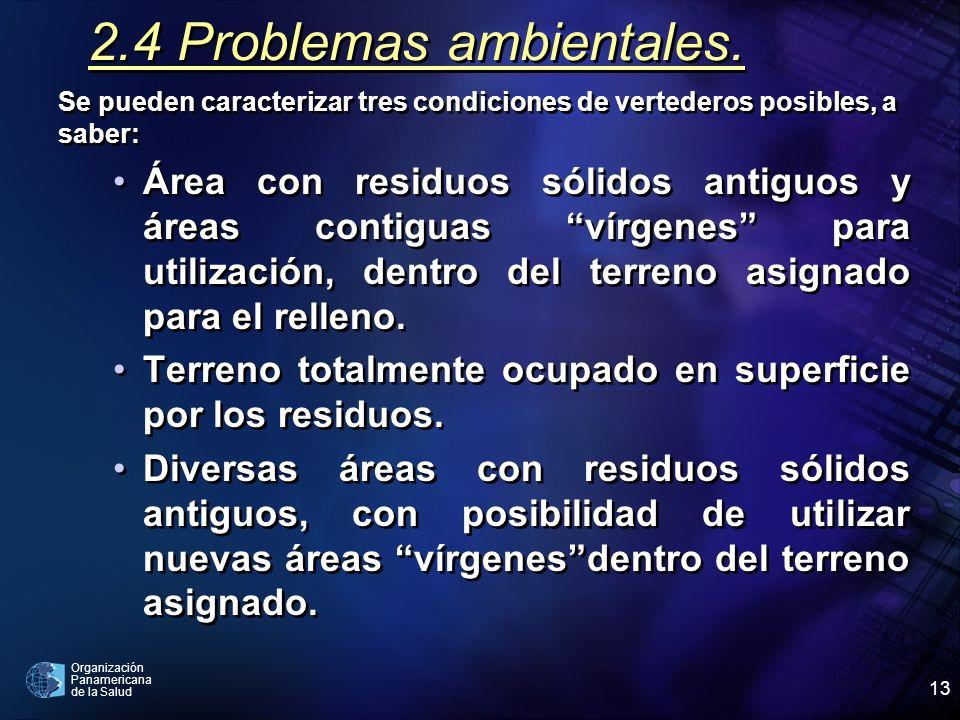 Organización Panamericana de la Salud 13 2.4 Problemas ambientales. Se pueden caracterizar tres condiciones de vertederos posibles, a saber: Área con