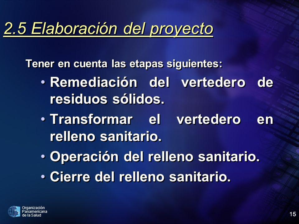 Organización Panamericana de la Salud 15 2.5 Elaboración del proyecto Tener en cuenta las etapas siguientes: Remediación del vertedero de residuos sól