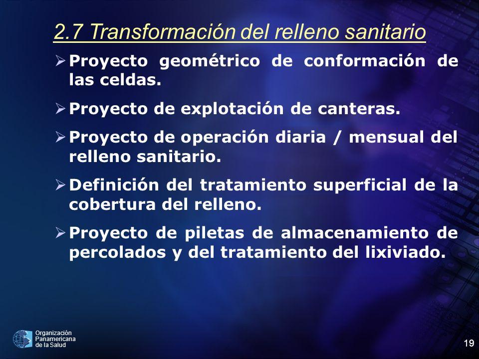 Organización Panamericana de la Salud 19 2.7 Transformación del relleno sanitario Proyecto geométrico de conformación de las celdas. Proyecto de explo