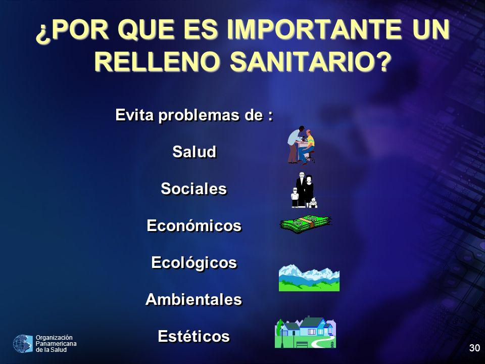 Organización Panamericana de la Salud 30 ¿POR QUE ES IMPORTANTE UN RELLENO SANITARIO? Evita problemas de : Salud Sociales Económicos Ecológicos Ambien