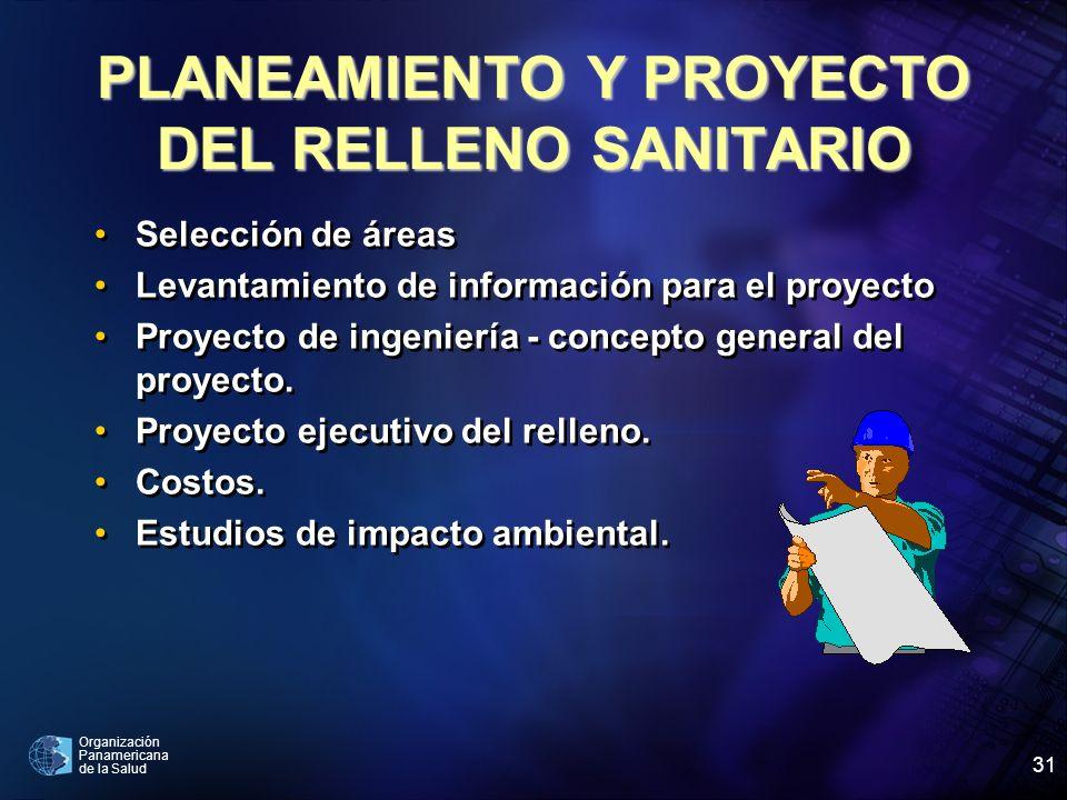Organización Panamericana de la Salud 31 PLANEAMIENTO Y PROYECTO DEL RELLENO SANITARIO Selección de áreas Levantamiento de información para el proyect