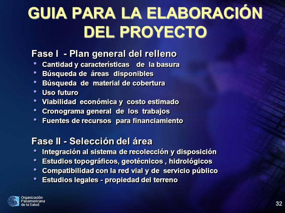 Organización Panamericana de la Salud 32 GUIA PARA LA ELABORACIÓN DEL PROYECTO Fase I - Plan general del relleno Cantidad y características de la basu