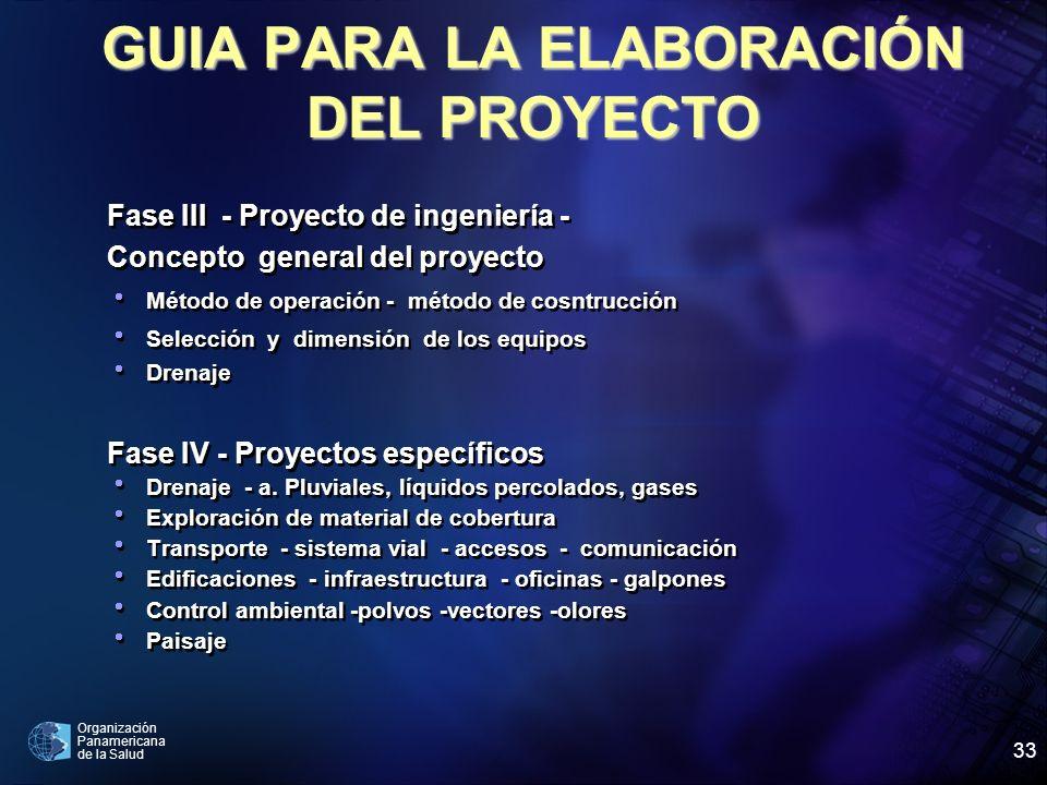 Organización Panamericana de la Salud 33 Fase III - Proyecto de ingeniería - Concepto general del proyecto Método de operación - método de cosntrucció