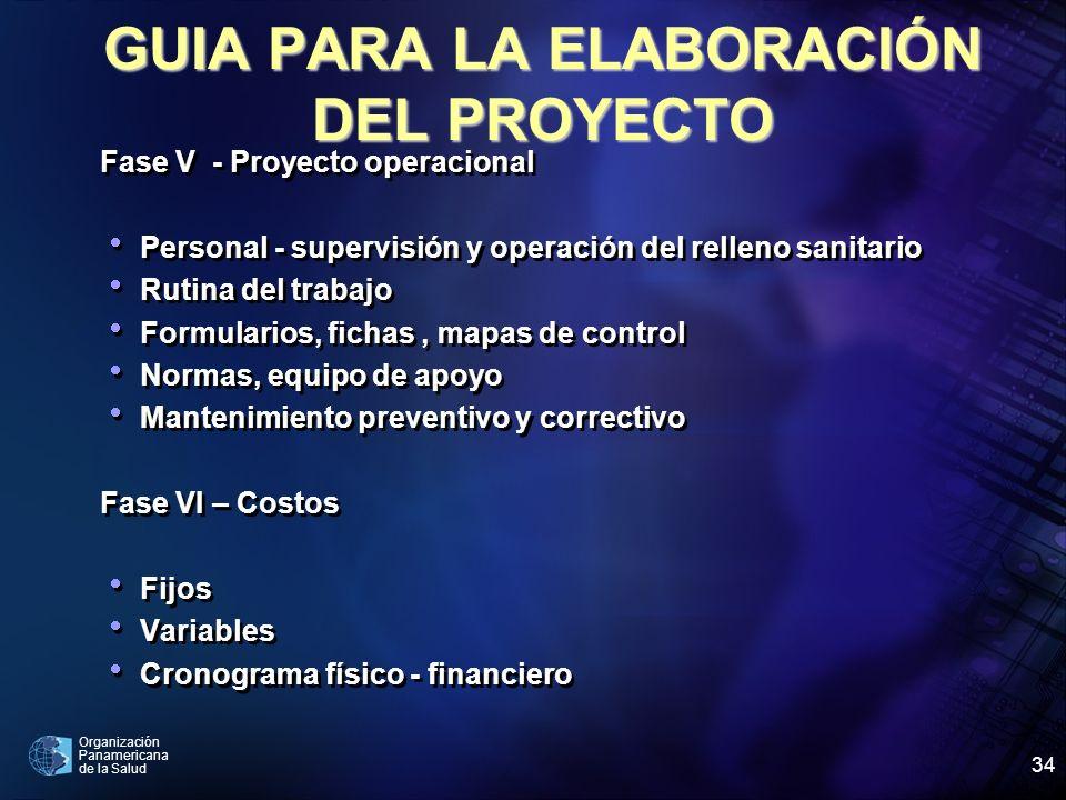 Organización Panamericana de la Salud 34 Fase V - Proyecto operacional Personal - supervisión y operación del relleno sanitario Rutina del trabajo For