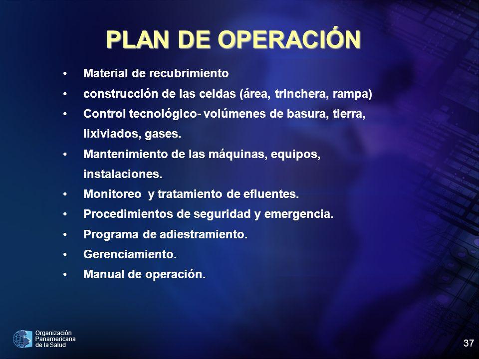 Organización Panamericana de la Salud 37 Material de recubrimiento construcción de las celdas (área, trinchera, rampa) Control tecnológico- volúmenes