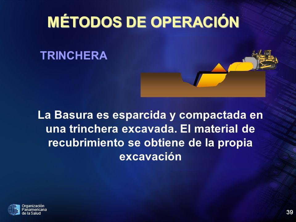 Organización Panamericana de la Salud 39 MÉTODOS DE OPERACIÓN TRINCHERA La Basura es esparcida y compactada en una trinchera excavada. El material de