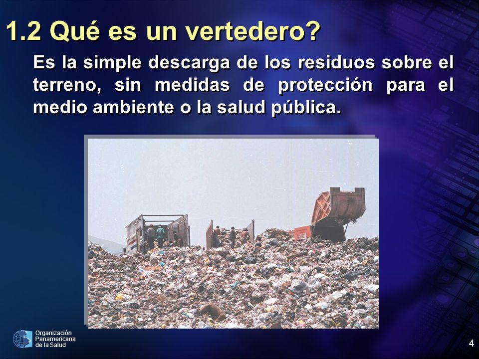 Organización Panamericana de la Salud 4 1.2 Qué es un vertedero? Es la simple descarga de los residuos sobre el terreno, sin medidas de protección par