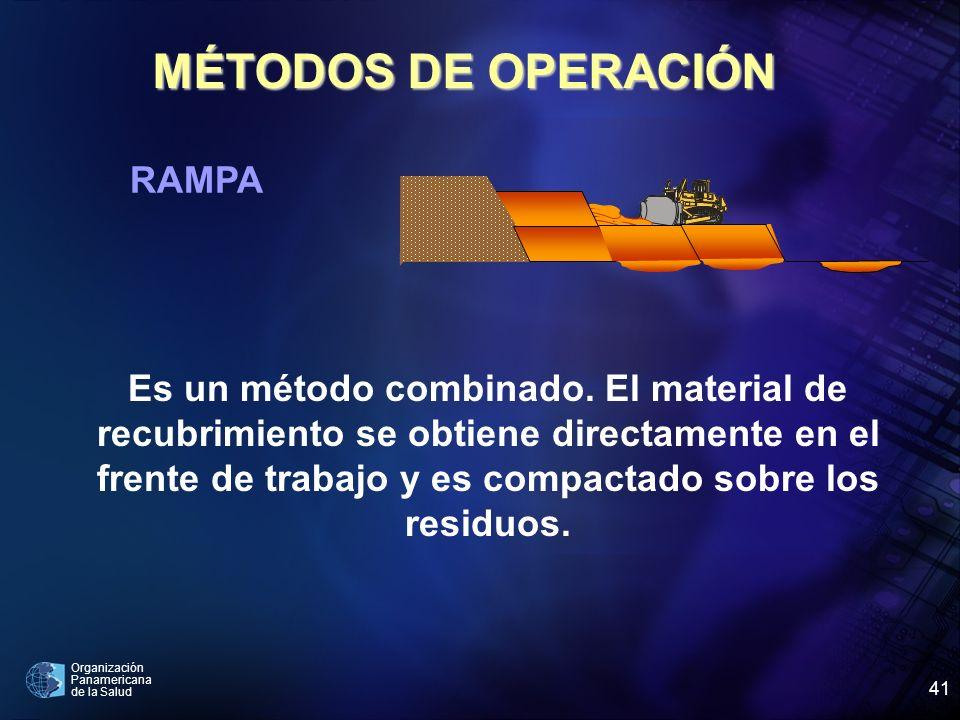 Organización Panamericana de la Salud 41 MÉTODOS DE OPERACIÓN RAMPA Es un método combinado. El material de recubrimiento se obtiene directamente en el