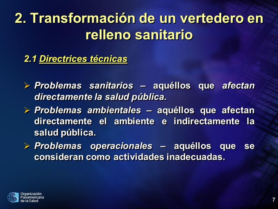 Organización Panamericana de la Salud 7 2. Transformación de un vertedero en relleno sanitario 2.1 Directrices técnicas Problemas sanitarios – aquéllo