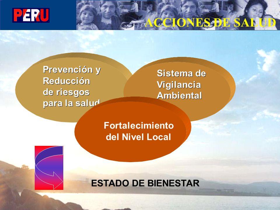 ACCIONES DE SALUD Prevención y Reducción de riesgos para la salud Sistema de Vigilancia Ambiental Fortalecimiento del Nivel Local ESTADO DE BIENESTAR