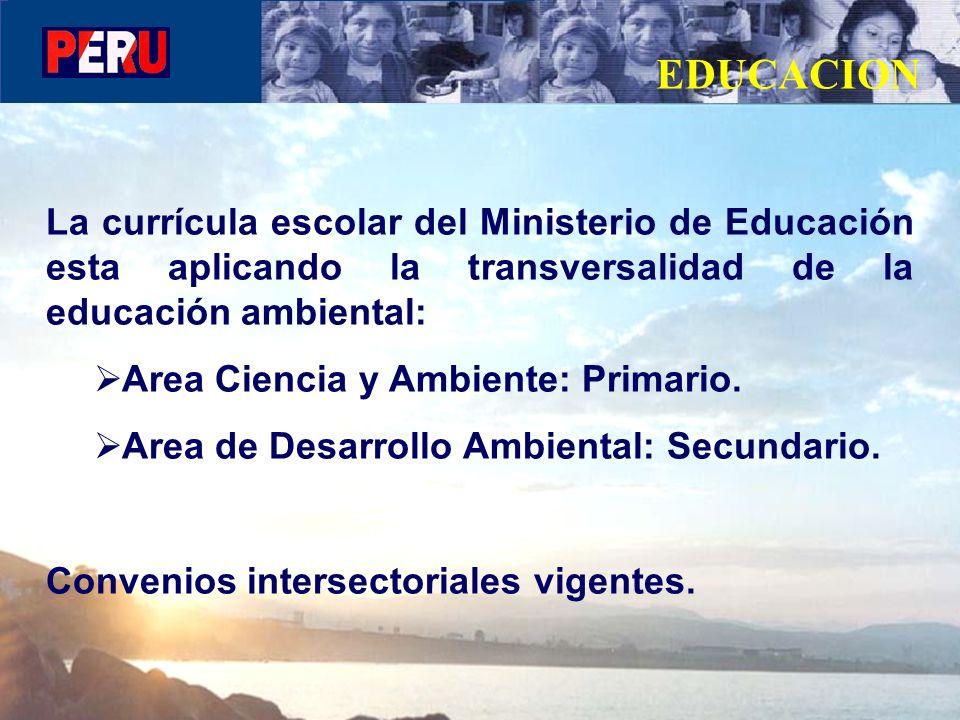 La currícula escolar del Ministerio de Educación esta aplicando la transversalidad de la educación ambiental: Area Ciencia y Ambiente: Primario. Area