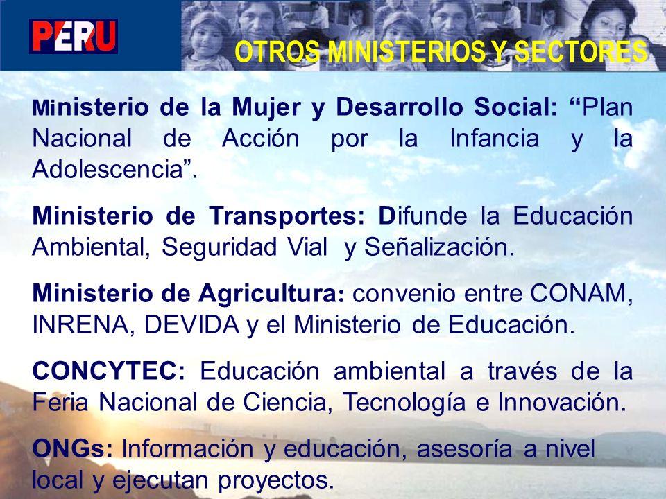 Mi nisterio de la Mujer y Desarrollo Social: Plan Nacional de Acción por la Infancia y la Adolescencia. Ministerio de Transportes: Difunde la Educació