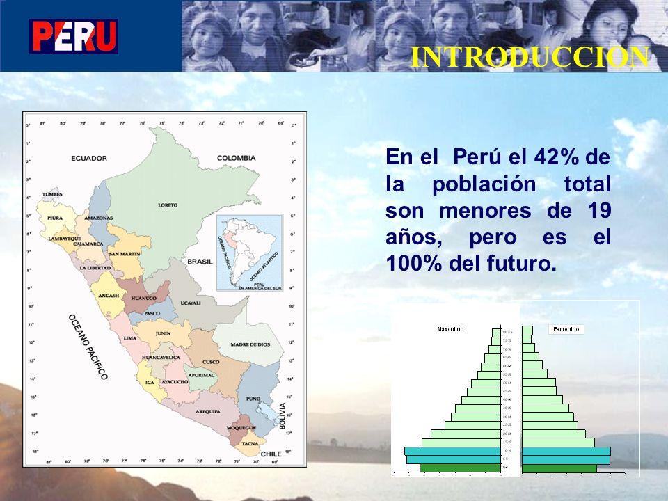 En el Perú el 42% de la población total son menores de 19 años, pero es el 100% del futuro. INTRODUCCION