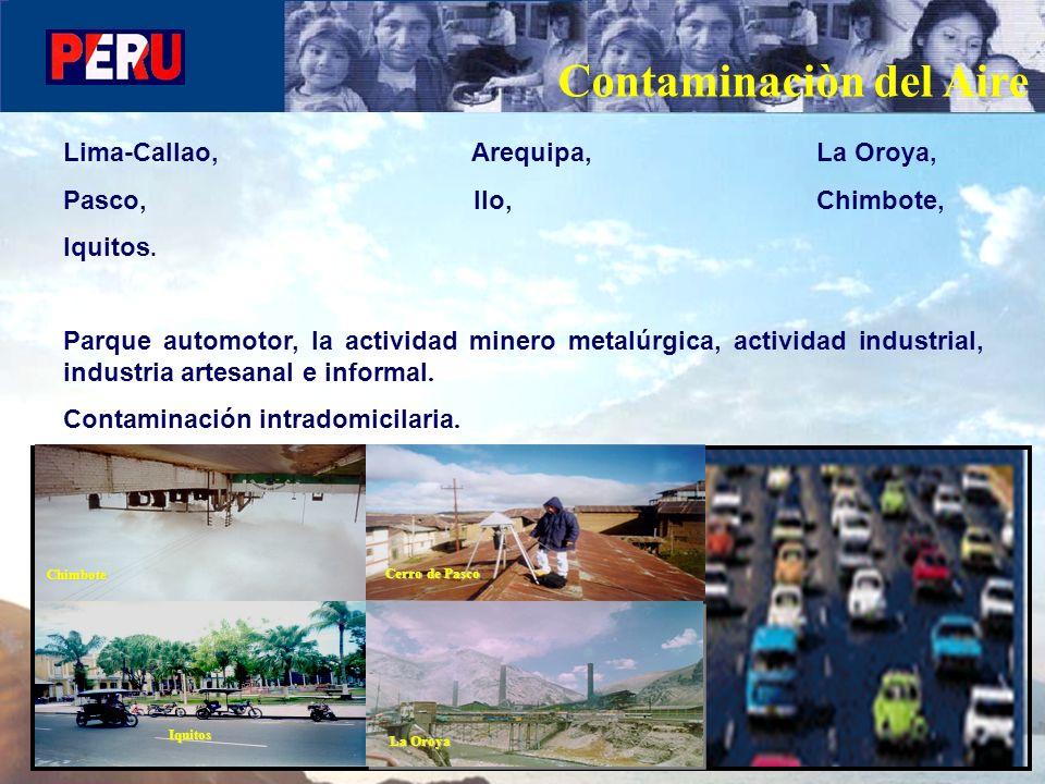 Contaminaciòn del Aire Lima-Callao, Arequipa, La Oroya, Pasco, Ilo, Chimbote, Iquitos. Parque automotor, la actividad minero metalúrgica, actividad in