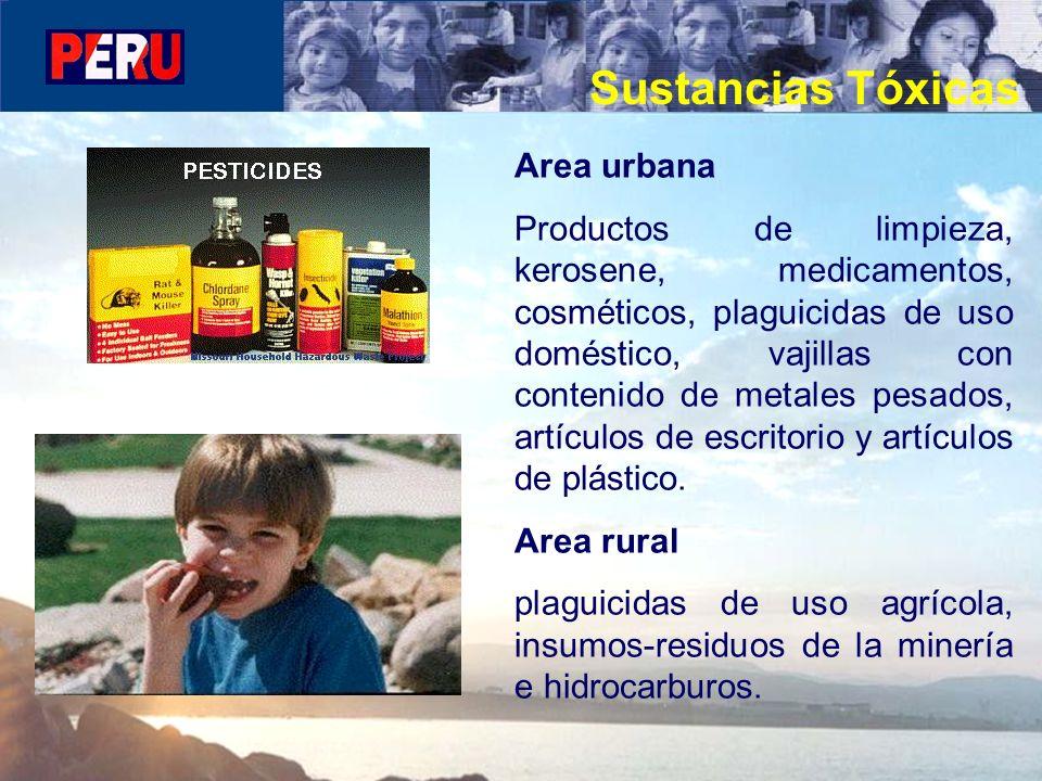 Area urbana Productos de limpieza, kerosene, medicamentos, cosméticos, plaguicidas de uso doméstico, vajillas con contenido de metales pesados, artícu