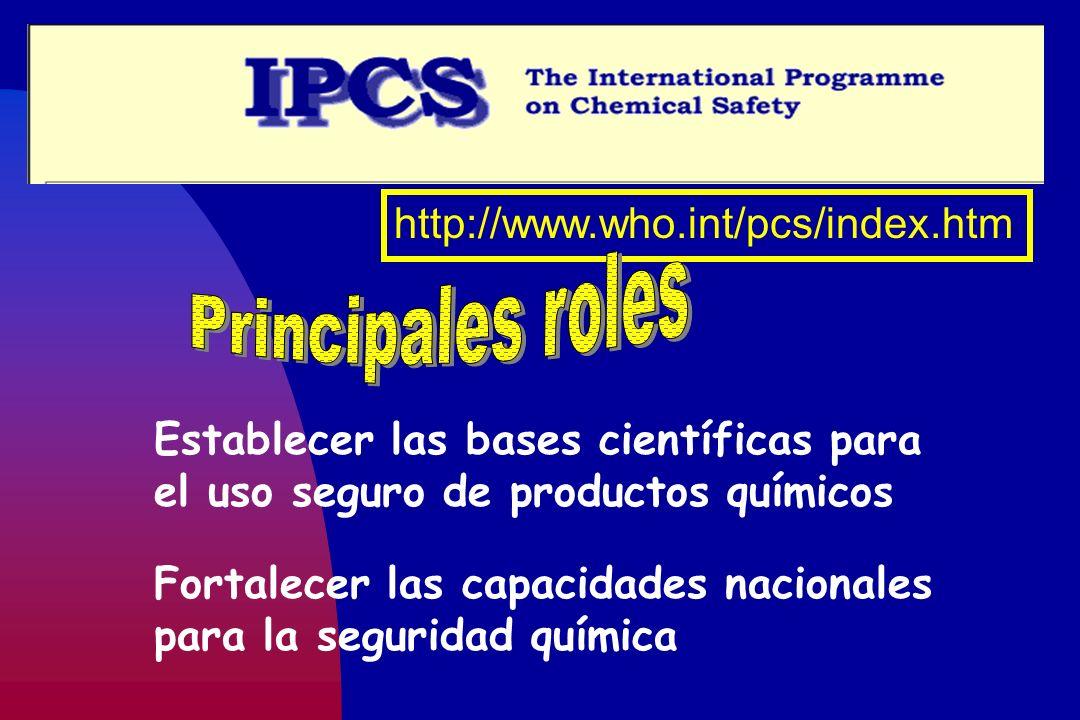 http://www.who.int/pcs/index.htm Establecer las bases científicas para el uso seguro de productos químicos Fortalecer las capacidades nacionales para