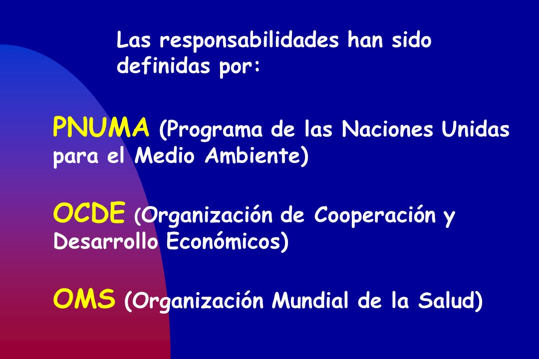 Las responsabilidades han sido definidas por: PNUMA (Programa de las Naciones Unidas para el Medio Ambiente) OCDE ( Organización de Cooperación y Desa